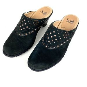 Sofft Mules Black Leather Size 7